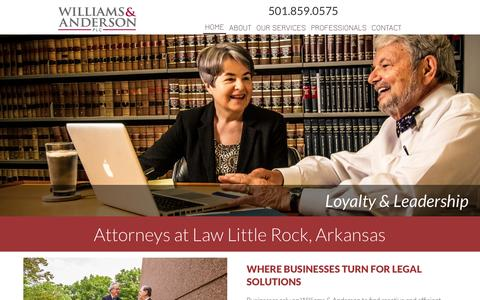 Screenshot of Home Page williamsanderson.com - Williams & Anderson | Where Businesses Turn for Legal Solutions - captured Nov. 30, 2016