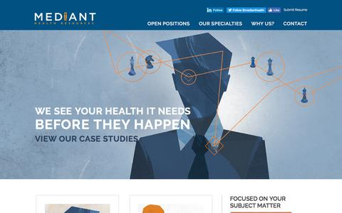 Screenshot of Case Studies Page medianthealthcare.com - Case Studies - Mediant Health Resources - captured Sept. 24, 2018
