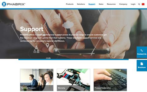Screenshot of Support Page phabrix.com - Support | Broadcast Test Equipment Suppliers | Phabrix - captured Sept. 26, 2018