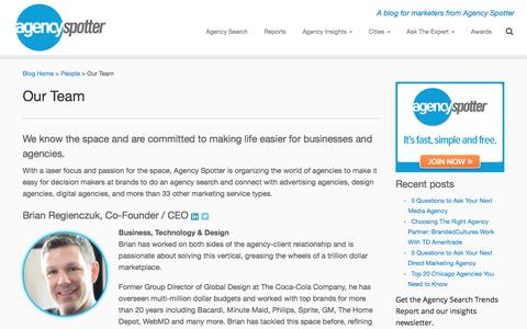 Screenshot of Team Page agencyspotter.com - Agency Spotter Team - Connecting marketers and agencies - captured May 9, 2017
