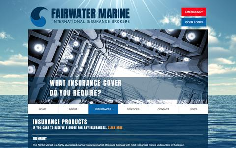 Screenshot of Services Page fairwater.se - Fairwater Marine | INSURANCES - captured Nov. 14, 2018