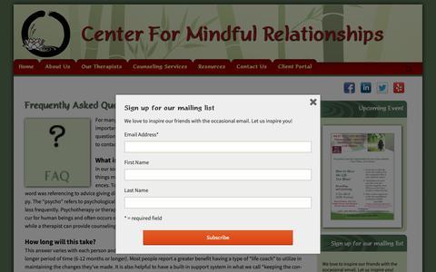Screenshot of FAQ Page cfmrsandiego.com - FAQs | Psychotherapy, Mental Health, Psychology | CFMR - captured Sept. 27, 2018