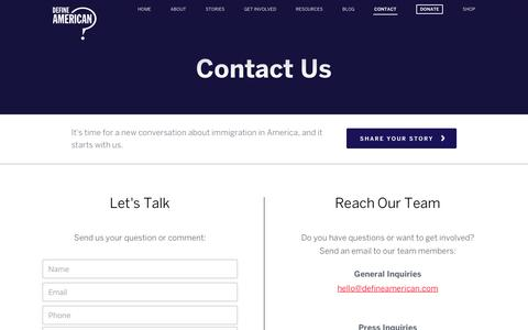 Screenshot of Contact Page defineamerican.com - Contact | Define American - captured Aug. 1, 2016