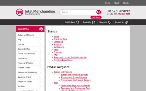 Screenshot of Site Map Page totalmerchandise.co.uk - TM Site map - Promotional Merchandise and Business Gifts - captured Feb. 16, 2018