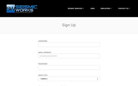 Screenshot of Signup Page seismicworks.com - Sign Up - Seismic Works - captured Oct. 27, 2014