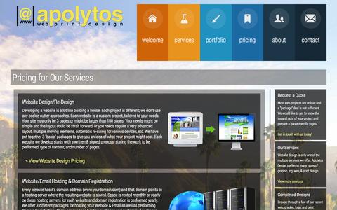 Screenshot of Pricing Page apolytosdesign.com - Pricing for Our Services - Apolytos Web & Print Design - captured Oct. 4, 2014