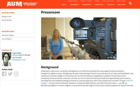 Screenshot of Press Page aum.edu - Pressroom   AUM - captured Dec. 12, 2018