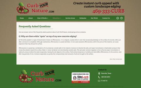 Screenshot of FAQ Page curbyournature.com - Curb Your Nature  Frequently Asked Questions - Curb Your Nature - captured July 18, 2016