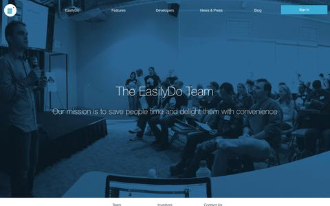 Screenshot of About Page easilydo.com - About the EasilyDo Team: The All in One Smart Assistant App - captured Dec. 3, 2015
