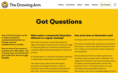 Screenshot of FAQ Page thedrawingarm.com.au - FAQ - The Drawing Arm :: Illustration Agency - captured July 12, 2019
