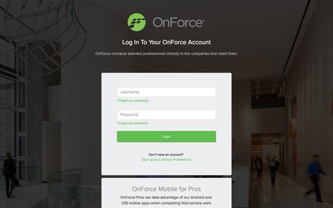 Screenshot of Login Page onforce.com - OnForce - captured Feb. 12, 2020