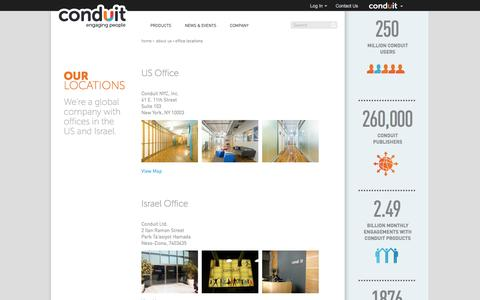 Screenshot of Locations Page conduit.com - Office Locations | Conduit - captured Oct. 29, 2014