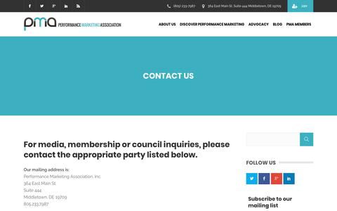 Screenshot of Contact Page thepma.org - Contact Us | The PMA - captured June 20, 2018