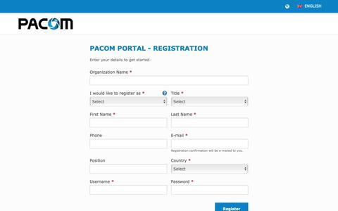 Screenshot of Signup Page pacom.com - Register | PACOM - captured Sept. 26, 2018