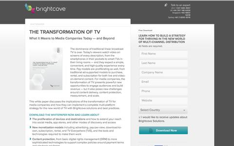Screenshot of Landing Page brightcove.com - The Transformation of TV: What It Means to Media Companies Today - and Beyond - captured Feb. 17, 2016