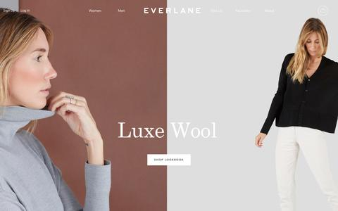 Screenshot of Home Page everlane.com - Everlane | Modern Basics. Radical Transparency. - captured Sept. 7, 2016