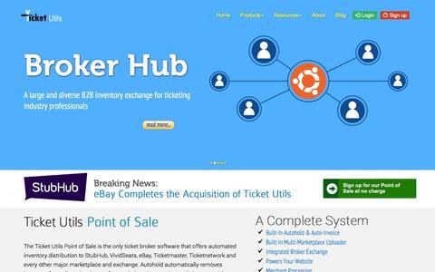 Screenshot of Home Page ticketutils.com - Ticket Broker Software Powering the Industry - Ticket Utils - captured Nov. 30, 2016