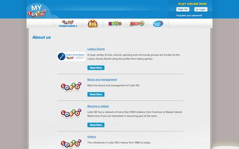 Screenshot of About Page mylotto.co.nz - About us » MyLotto - captured Sept. 19, 2014