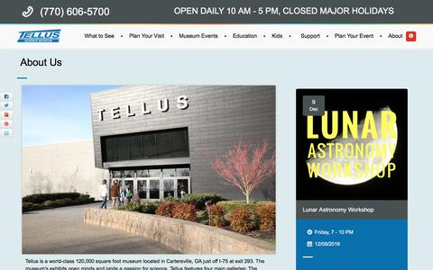 Screenshot of About Page tellusmuseum.org - About Us - Tellus Science Museum in Cartersville, GA - captured Dec. 2, 2016