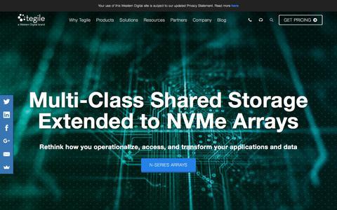 Screenshot of Home Page tegile.com - Tegile, a Western Digital Brand | Enterprise Flash Storage - captured July 12, 2018