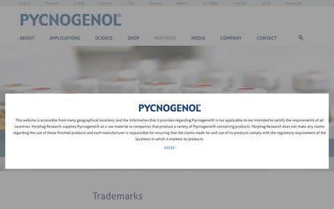 Screenshot of Terms Page pycnogenol.com - Legal - captured Nov. 10, 2016