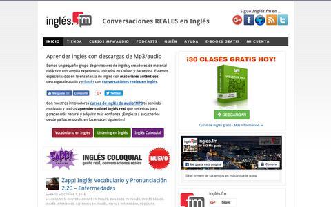 Screenshot of Home Page ingles.fm - MP3/Audios en inglés: Descargar Conversaciones REALES ⬇ - captured Nov. 14, 2018