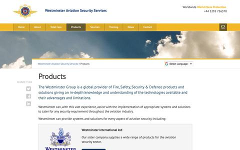 Screenshot of Products Page wass-ltd.com - Products - Westminster Aviation Security Services - captured Oct. 18, 2018