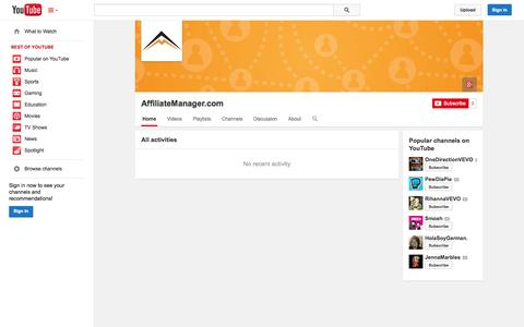 Screenshot of YouTube Page youtube.com - AffiliateManager.com  - YouTube - captured Oct. 23, 2014