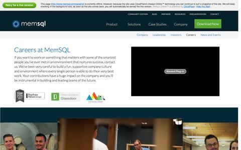 Screenshot of Jobs Page memsql.com - Work at MemSQL - MemSQL Careers - captured Jan. 13, 2016