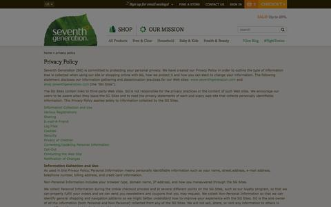 Screenshot of Privacy Page seventhgeneration.com - Privacy Policy   Seventh Generation - captured Nov. 5, 2014