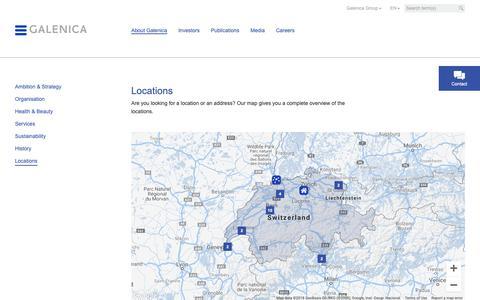 Screenshot of Locations Page galenica.com - Locations - Galenica.com - captured Sept. 26, 2018