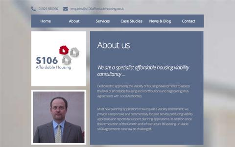Screenshot of Home Page About Page Contact Page Services Page Case Studies Page s106affordablehousing.co.uk - Home | s106 Affordable Housing | Section 106 housing consultants Hampshire - captured Sept. 30, 2014