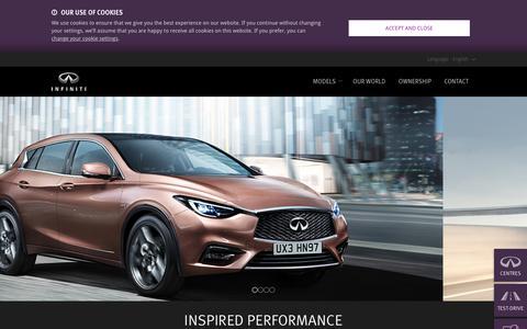 Screenshot of Home Page infiniti.eu - Infiniti: High performance cars, photos, prices of new luxury cars - captured Jan. 19, 2016