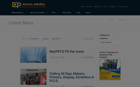Screenshot of Press Page accessplastics.com - Access Plastics Latest News | Access Plastics - captured July 28, 2018