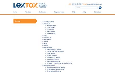 Screenshot of Site Map Page lextox.co.uk - Lextox Drug & Alcohol Testing Sitemap - captured July 13, 2016