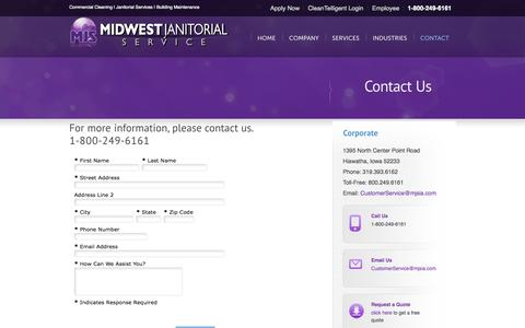 Screenshot of Contact Page Locations Page midwestjanitorial.com - Contact Us-Janitorial Service, Commercial Cleaning, Carpet Cleaning, Building Maintenance, Floor Care - captured Oct. 25, 2014