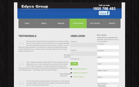Screenshot of Testimonials Page edycogroup.com.au - Edyco Group - Testimonials - captured Oct. 27, 2016