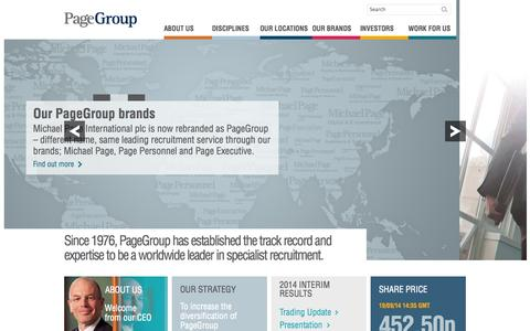 Screenshot of Home Page page.com - Worldwide leaders in specialist recruitment  – PageGroup - captured Sept. 19, 2014