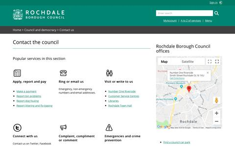 Screenshot of Contact Page rochdale.gov.uk - Contact the council - captured Sept. 22, 2018