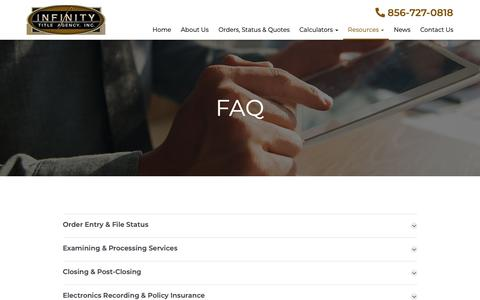 Screenshot of FAQ Page infinitytitle.com - FAQ - Mount Laurel, Philadelphia, New York | Infinity Title Agency - captured Oct. 11, 2018