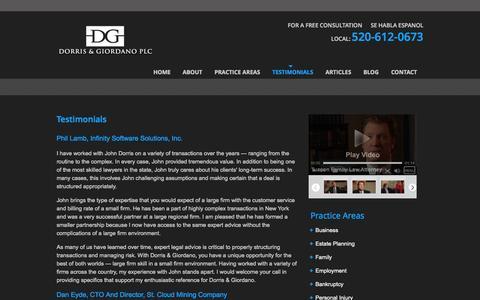Screenshot of Testimonials Page dgtucson.com - Testimonials | Dorris & Giordano Law Firm - captured Oct. 5, 2014