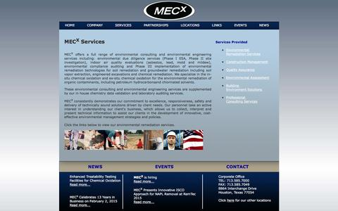 Screenshot of Services Page mecx.net - Environmental Consulting & Environmental Remediation Services | Houston, TX | MECX - captured Nov. 17, 2016