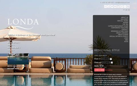 Screenshot of Home Page londahotel.com - Londa Beach Hotel | Luxury Hotels Limassol | 5 Star Hotels Cyprus | Boutique Hotel - captured Nov. 5, 2018