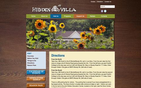 Screenshot of Maps & Directions Page hiddenvilla.org - Directions - captured Jan. 29, 2016