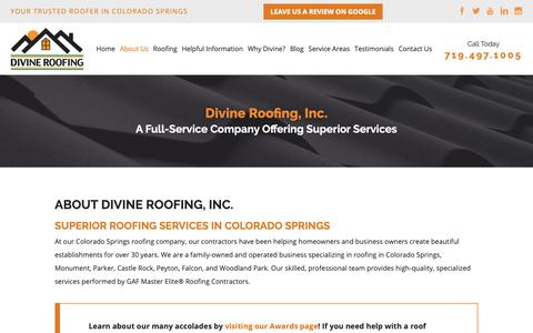 Screenshot of About Page divineroofinginc.com - About Our Colorado Springs Roofers | Divine Roofing - captured March 24, 2019