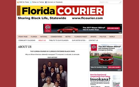 Screenshot of About Page flcourier.com - Florida Courier |   ABOUT US - captured Oct. 31, 2016