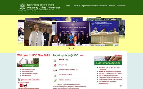 Screenshot of Home Page ugc.ac.in - Welcome to UGC, New Delhi, India - captured Jan. 26, 2015