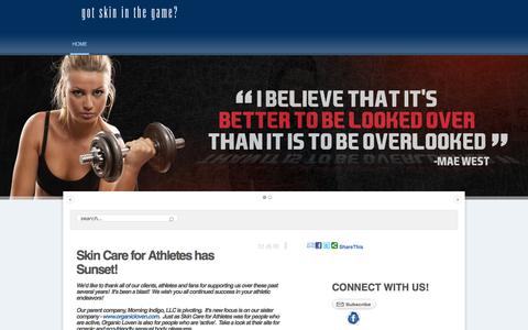 Screenshot of Home Page skincareforathletes.com - Skin Care for Athletes - captured Feb. 4, 2016