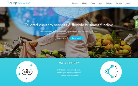 Screenshot of Home Page ebury.com - Ebury UK | Providing Business Lending & Currency Services - captured March 25, 2016