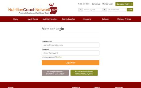 Screenshot of Login Page nutritioncoachnetwork.com - Login Now - NutritionCoachNetwork.com - captured Sept. 21, 2018